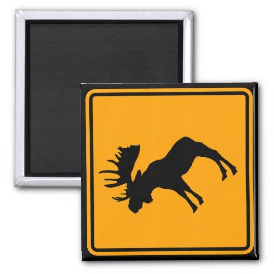 Moose Symbol Yellow Diamond Warning Sign Magnet