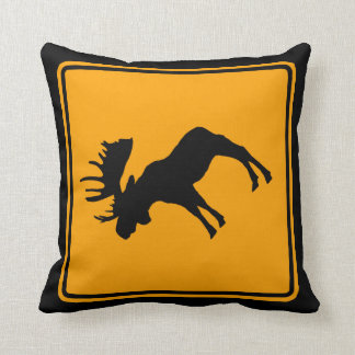 Moose Symbol Yellow Diamond Warning Sign Throw Pillow