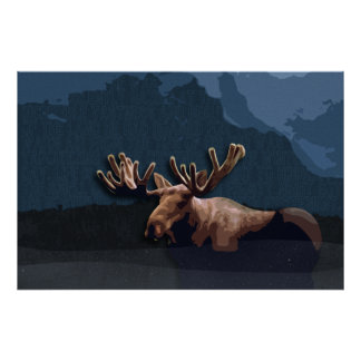 Moose Talk Poster Or Canvas Print
