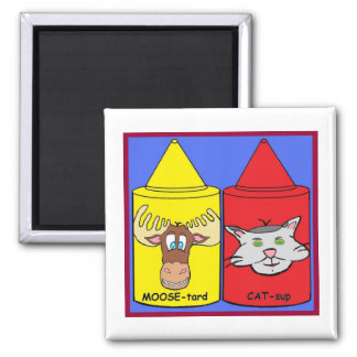 MOOSE-tard and CAT-sup 2 Inch Square Magnet