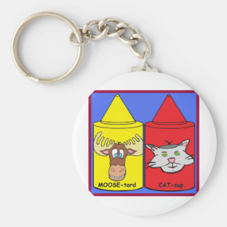 MOOSE-tard and CAT-sup Basic Round Button Keychain
