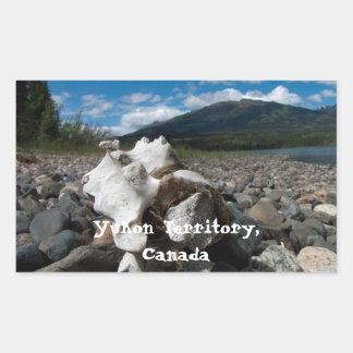 Moose Vertebrae on the Beach; Yukon Souvenir Rectangular Sticker