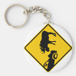 Moose Warning Sign from Gros Morne National Park Keychain
