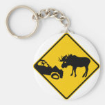 Moose Warning Sign from Gros Morne National Park Key Chains