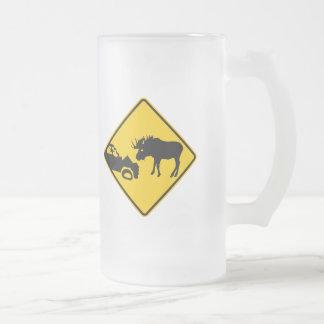 Moose Warning Sign from Gros Morne National Park 16 Oz Frosted Glass Beer Mug