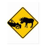 Moose Warning Sign from Gros Morne National Park Postcards