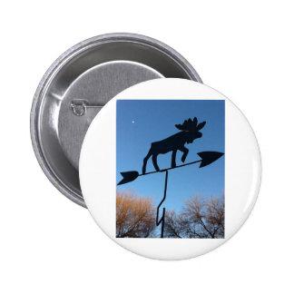 Moose weathervane 2 inch round button