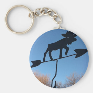 Moose weathervane basic round button keychain