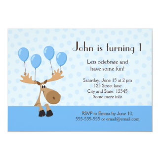 Moose with balloons boys birthday party invite
