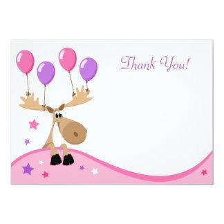 Moose with balloons fun girly flat thank you card