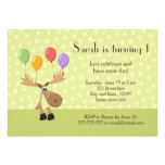 Moose with balloons green birthday party invite