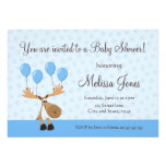 Moose with blue balloons baby shower invite
