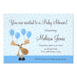 """Moose with blue balloons baby shower invite 5"""" x 7"""" invitation card"""