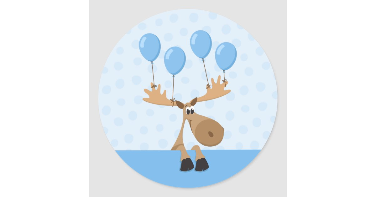 Moose with blue balloons birthday stickers  boys  Zazzle