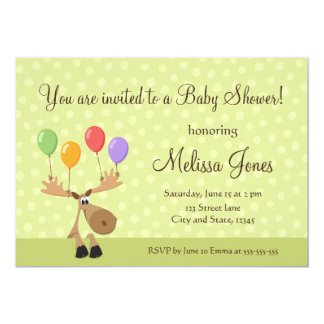 Moose with colorful balloons baby shower invite