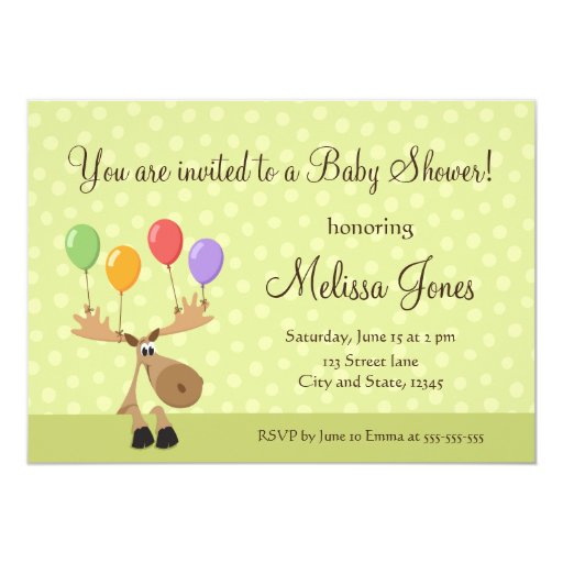 """Moose with colorful balloons baby shower invite 5"""" x 7"""" invitation card"""