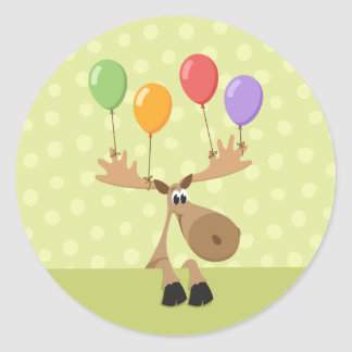 Moose with colorful balloons birthday stickers