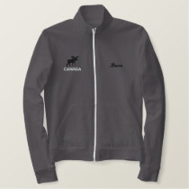Moose with Optional Text Embroidered Jacket