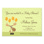 """Moose with yellow balloons baby shower invite 5"""" x 7"""" invitation card"""