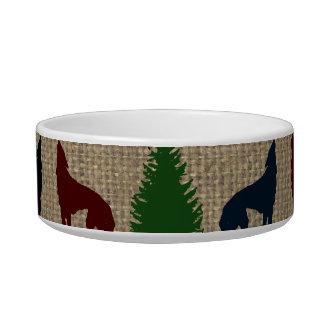 Moose Wolf Pine Tree Rustic Burlap Print Bowl