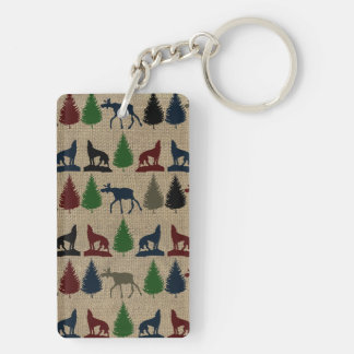 Moose Wolf Pine Tree Rustic Burlap Print Double-Sided Rectangular Acrylic Keychain