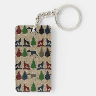 Moose Wolf Pine Tree Rustic Burlap Print Keychain