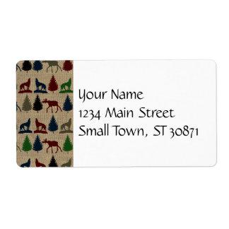 Moose Wolf Pine Tree Rustic Burlap Print Shipping Labels