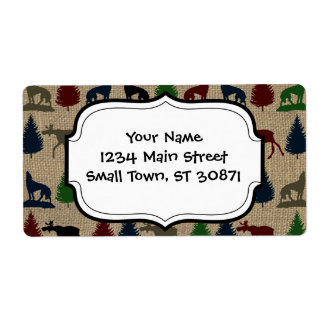 Moose Wolf Pine Tree Rustic Burlap Print Personalized Shipping Labels