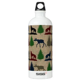 Moose Wolf Pine Tree Rustic Burlap Print Outdoors Aluminum Water Bottle