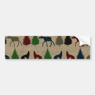Moose Wolf Pine Tree Rustic Burlap Print Outdoors Bumper Sticker