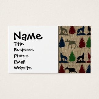 Moose Wolf Pine Tree Rustic Burlap Print Outdoors Business Card