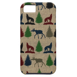 Moose Wolf Pine Tree Rustic Burlap Print Outdoors iPhone 5 Cases