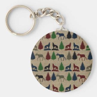 Moose Wolf Pine Tree Rustic Burlap Print Outdoors Keychain