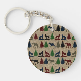 Moose Wolf Pine Tree Rustic Burlap Print Outdoors Double-Sided Round Acrylic Keychain