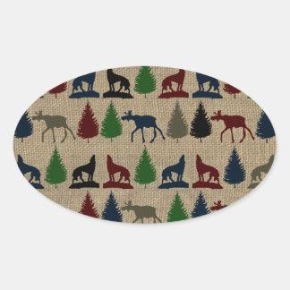 Moose Wolf Pine Tree Rustic Burlap Print Outdoors Oval Sticker