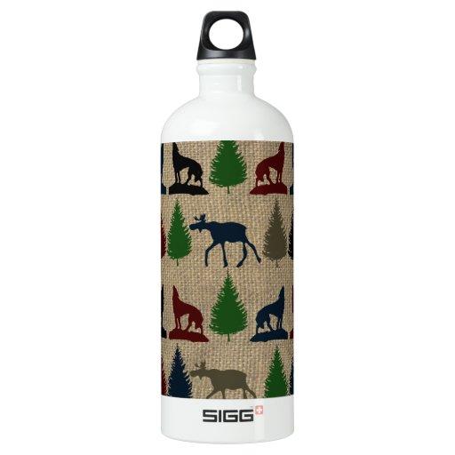 Moose Wolf Pine Tree Rustic Burlap Print Outdoors SIGG Traveler 1.0L Water Bottle