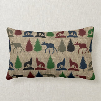 Moose Wolf Pine Tree Rustic Burlap Print Throw Pillows