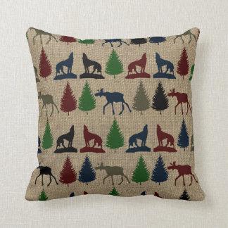 Moose Wolf Pine Tree Rustic Burlap Print Pillows