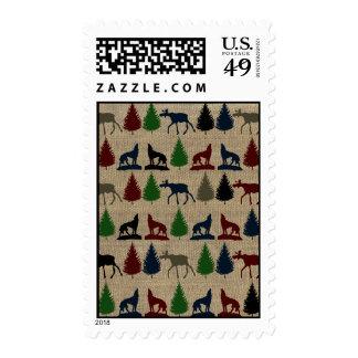Moose Wolf Pine Tree Rustic Burlap Print Stamps