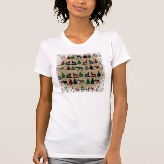 Moose Wolf Pine Tree Rustic Burlap Print T-Shirt