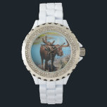"""Moose Wristwatch<br><div class=""""desc"""">Moose standing by a stream in a valley.</div>"""
