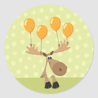 Moose yellow balloons envelope seal/label classic round sticker