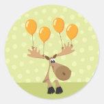 Moose yellow balloons envelope seal/label sticker