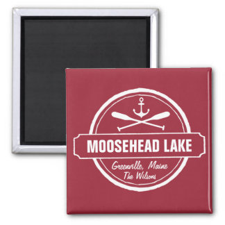 Moosehead Lake Maine anchor custom town and name 2 Inch Square Magnet