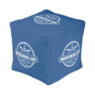 Moosehead Lake Maine anchor custom town and name Cube Pouf
