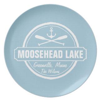 Moosehead Lake Maine anchor custom town and name Dinner Plate