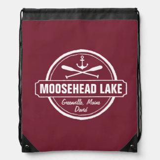 Moosehead Lake Maine anchor custom town and name Drawstring Bag