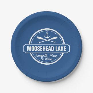 Moosehead Lake Maine anchor custom town and name Paper Plate