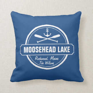 Moosehead Lake Maine anchor custom town and name Throw Pillow