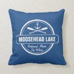 Moosehead Lake Maine anchor custom town and name Throw Pillows